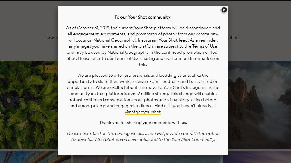 """National Geographic closes """"Your Shot"""" website and switches focus to Instagram"""